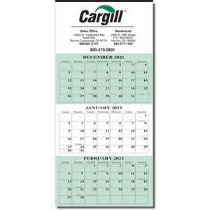 3 Month Wall Calendar w/ Tinned Top (1 Color)
