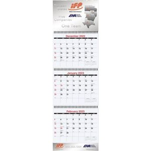 "Large Three Month at a Glance Calendars w/Apron (10 3/4""x35"")"