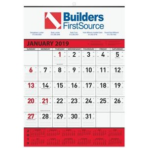 "Red Contractor Calendars w/1 Image & 2 Color Imprint (18""x25"")"