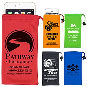 "4"" x 7-1/2"" - ""Clean-n-Carry"" Spot Color Microfiber Drawstring Pouch For Cell Phones, Eyeglasses"
