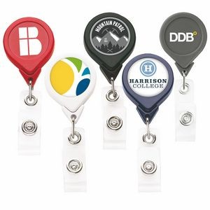 Best Round Retractable Badge Reel w/ Alligator Clip (Polydome)