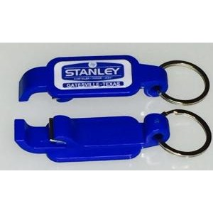 Blue Plastic Poptopper Bottle Opener Key Tag
