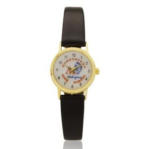 Classic Gold Tone Lady Watch with genuine leather band, Japanese quartz movement. USA assembly.