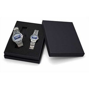Sporty Design Bracelet Watch Set in silver band & secure clasp closure,Japanese quartz movement