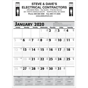 2020 Commercial Planner Wall Calendar - Grey & Black