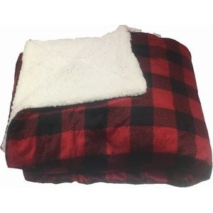 "Micro Mink Sherpa Blanket 50""X60"" (Embroidered)--Red Buffalo Check"